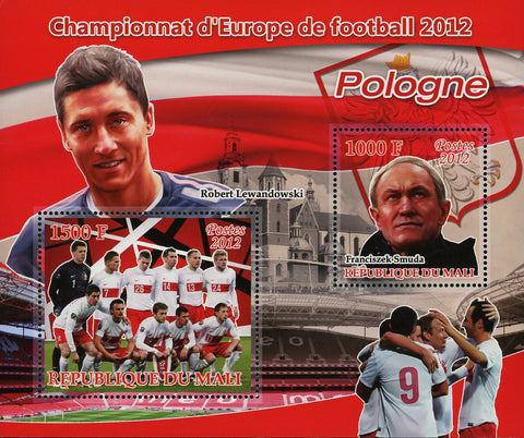 Soccer European Championship Poland Robert Lewandowski Sov. Sheet of 2 MNH