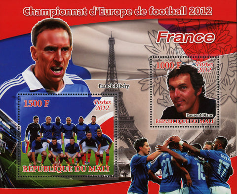 Soccer European Championship France Franck Ribery Sov. Sheet of 2 MNH