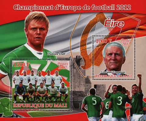 Soccer European Championship 2012 Ireland Sov. Sheet of 2 Stamps MNH
