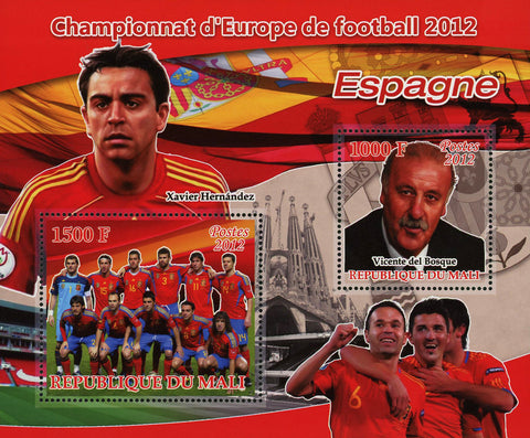Soccer European Championship 2012 Spain Sov. Sheet of 2 Stamps MNH