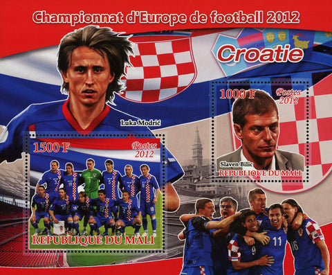 Soccer European Championship 2012 Croatia Sov. Sheet of 2 Stamps MNH