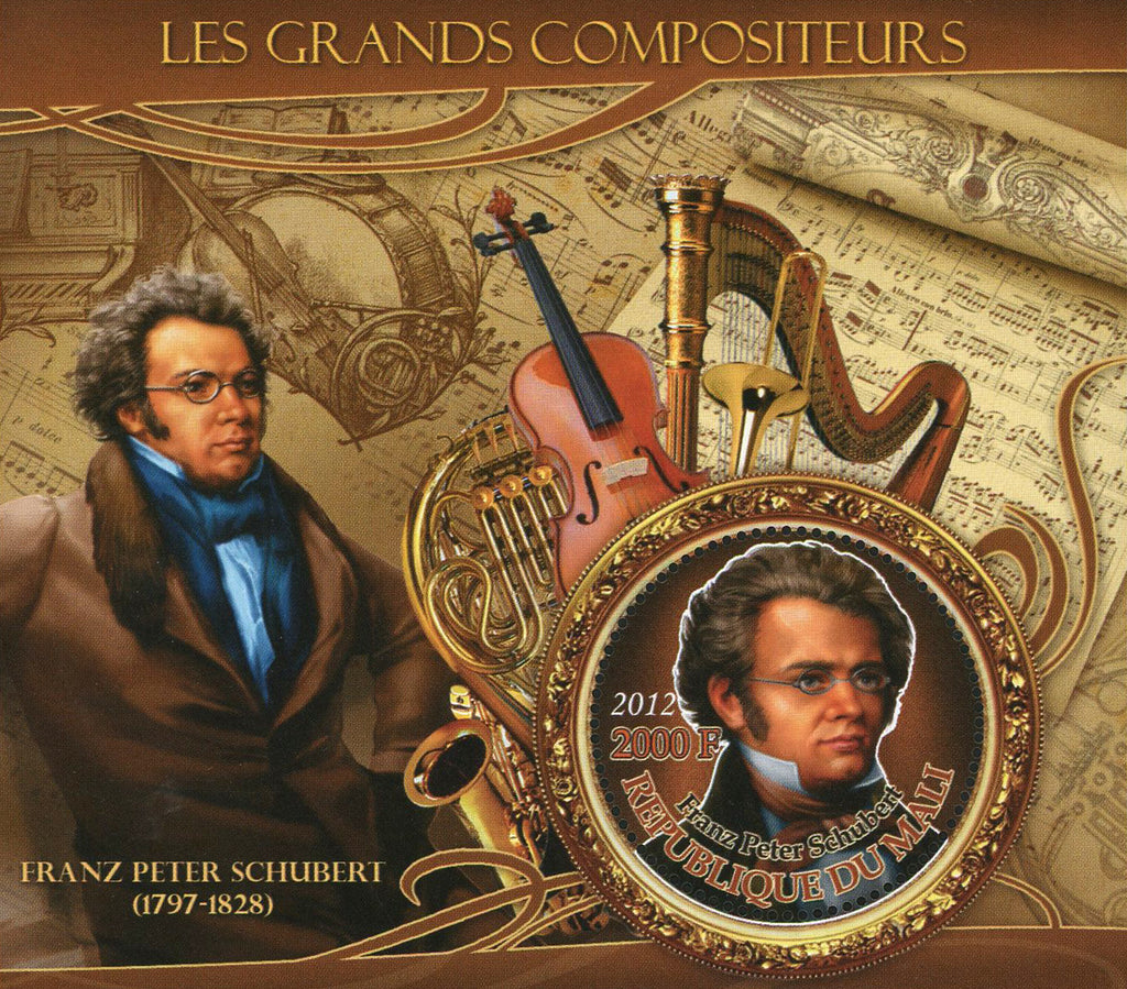 Famous Composer Franz Peter Schubert Music Sov. Sheet of 2 Stamps MNH