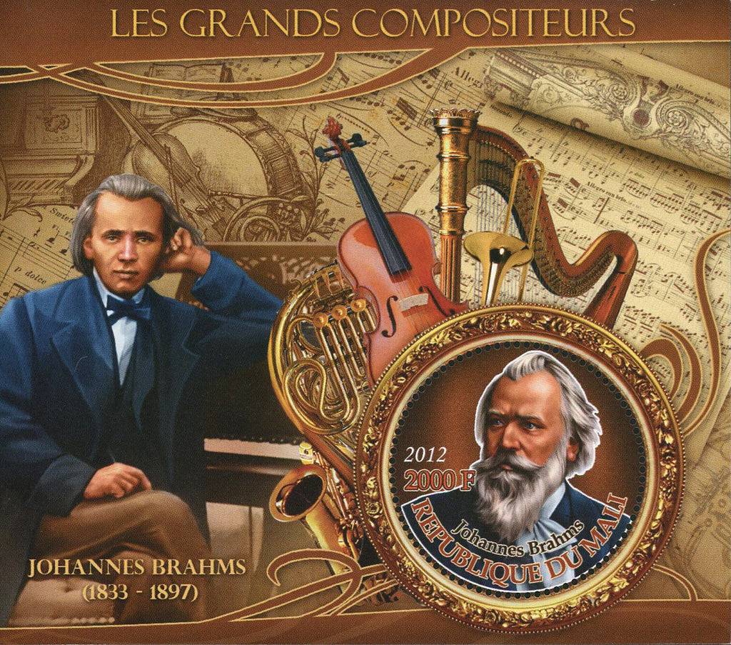 Famous Composer Johannes Brahms Music Sov. Sheet of 2 Stamps MNH