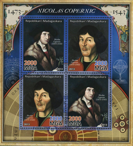 Madagascar Nicolaus Copernicus Historical Figure Sov. Sheet of 4 Stamps MNH