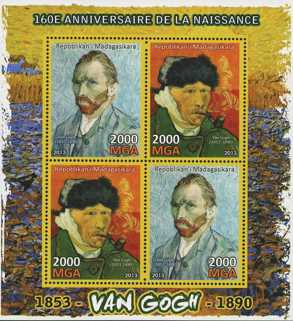 Van Gogh Historical Figure Painter Art Sov. Sheet of 4 Stamps Mint NH