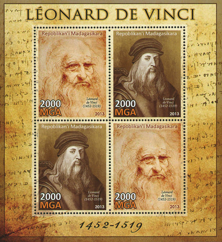 Leonardo Da Vinci Painting Art Souvenir Sheet of 4 Stamps Mint NH
