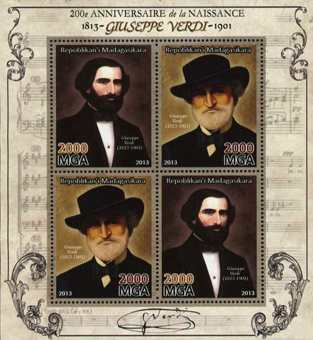 Giuseppe Verdi Composer Music Souvenir Sheet of 4 Stamps Mint NH
