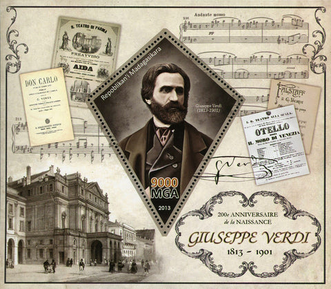 Giuseppe Verdi Composer Music Souvenir Sheet Mint NH