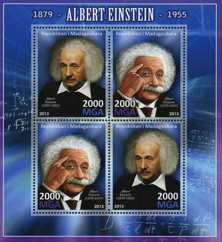 Albert Einstein Science Historical Figure Souvenir Sheet of 4 Stamps MNH