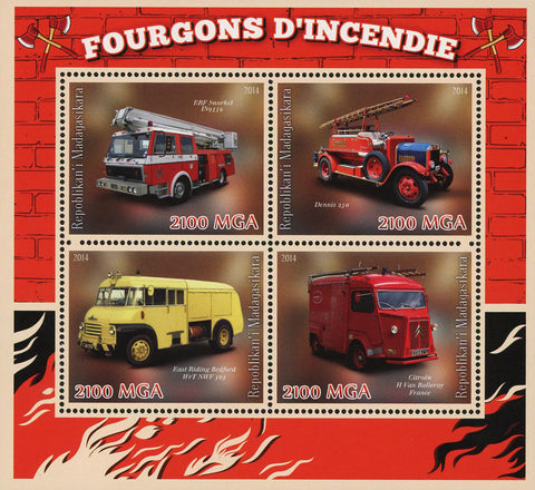 Firefighter Fireman Truck Vehicle Transportation Souvenir Sheet of 4
