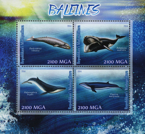 Whale Marine Fauna Beach Ocean Souvenir Sheet of 4 Stamps MNH