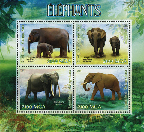 Elephant Wild Animal Laxodonta Africana Souvenir Sheet of 4 Stamps MN