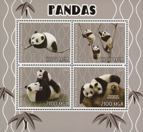 Panda Ailuropoda Melanoleuca Souvenir Sheet of 4 Stamps Mint NH
