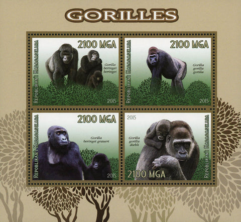 Gorilla Beringet Wild Animal Souvenir Sheet of 4 Stamps Mint NH