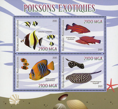 Exotic Fish Marine Fauna Ocean Souvenir Sheet of 4 Stamps Mint NH
