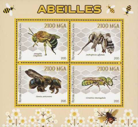 Bee Honey Insect Souvenir Sheet of 4 Stamps Mint NH