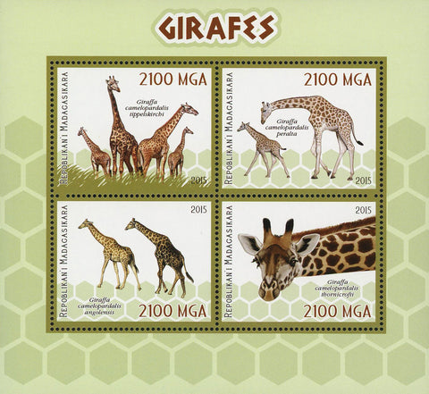 Giraffe Wild Animal Souvenir Sheet of 4 Stamps Mint NH