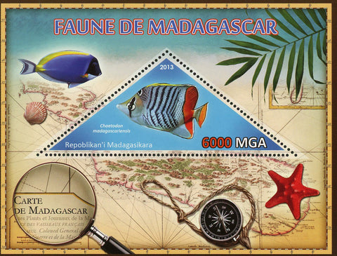 Fauna Wild Animal Chaetodon Madagascariensis Souvenir Sheet Mint NH