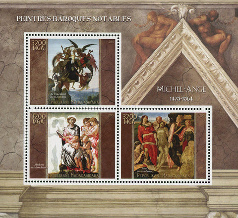 Barroque Painter Michael Angelo Art Sov. Sheet of 3 Stamps MNH