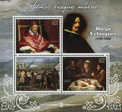Diego Velasquez Barroque Painter Art Sov. Sheet of 3 Stamps MNH
