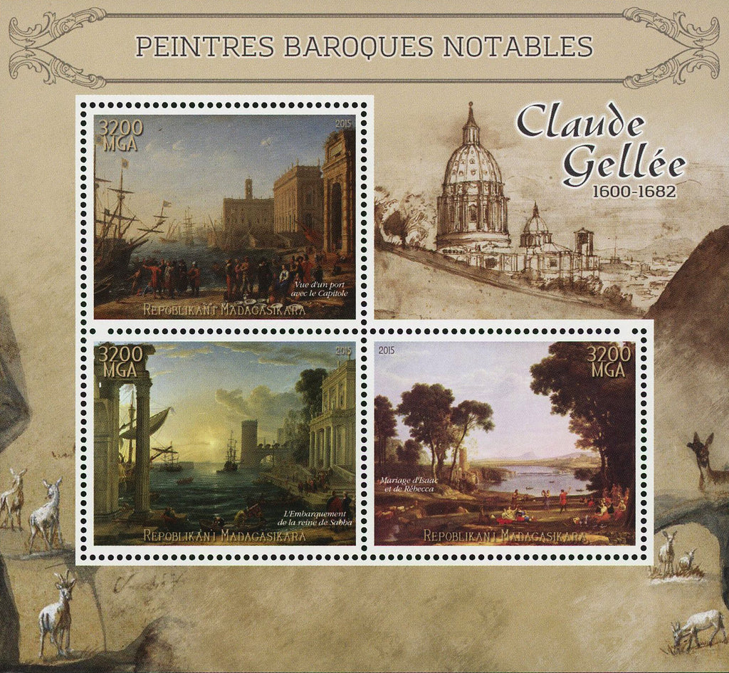 Madagascar Barroque Painter Claude Gellee Art Sov. Sheet of 3 Stamps MNH