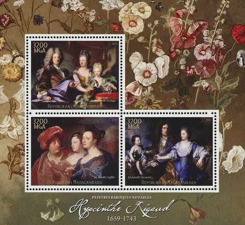 Hyacinthe Rigaud Barroque Painter Art Sov. Sheet of 3 Stamps MNH