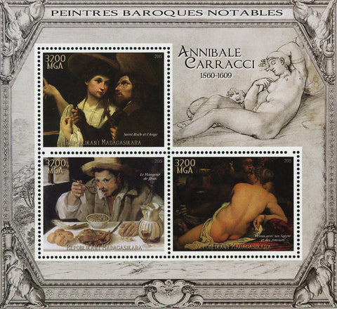 Annibale Carracci Barroque Painter Art Sov. Sheet of 3 Stamps MNH