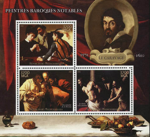 Le Caravage Barroque Painter Art Sov. Sheet of 3 Stamps MNH