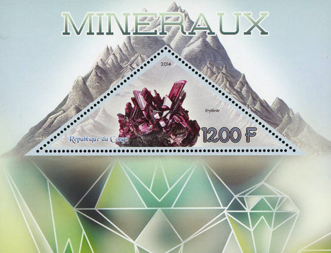 Congo Erythrite Mineral Purple Nature Souvenir Sheet Mint NH