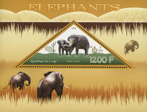 Congo Elephant Elephas Maximus Wild Animal Souvenir Sheet Mint NH