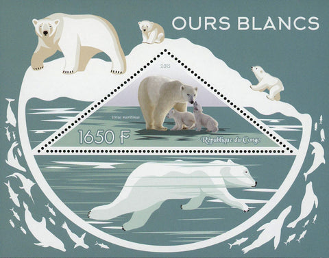 Congo White Polar Bear Ursus Maritimus Souvenir Sheet Mint NH