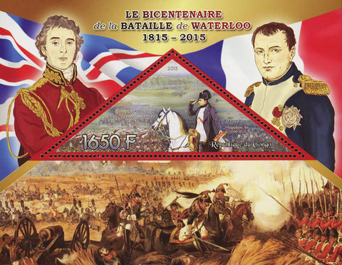 Congo Battle of Waterloo Napoleon Bonaparte Souvenir Sheet Mint NH