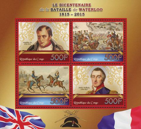 Congo Battle of Waterloo Napoleon Bonaparte Souvenir Sheet of 4 Stamps Mint NH