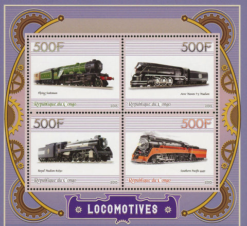 Congo Locomotive Southern Pacific  Flying Scotsman Souvenir Sheet of 4 Stamps Mi