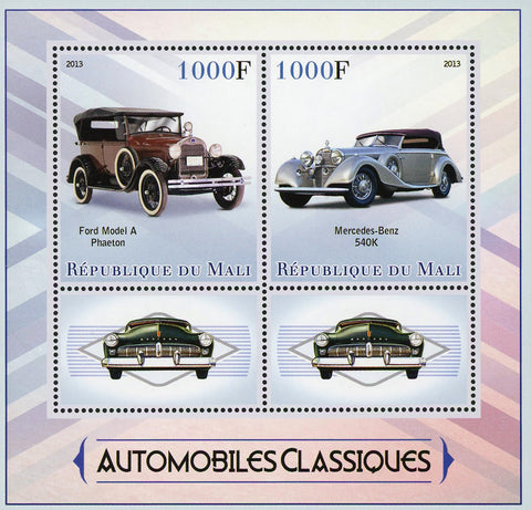 Classic Car Automobile Transportation Souvenir Sheet of 2 Stamps Mint NH