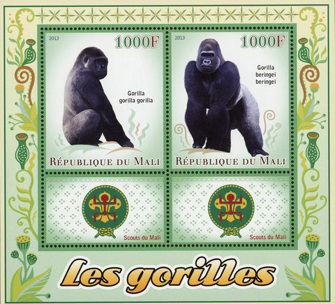 Gorilla Beringei Wild Animal Souvenir Sheet of 2 Stamps Mint NH