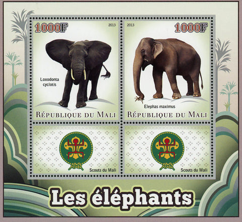 Elephant Elephas Maximus Wild Animal Souvenir Sheet of 2 Stamps Mint NH