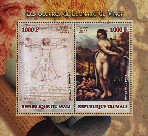 Leonardo Da Vinci Art The Vitruvian Man Sov. Sheet of 2 Stamps MNH