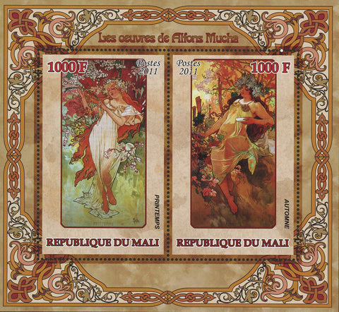Alfons Mucha Paintings Art Painter Sov. Sheet of 2 Stamps MNH