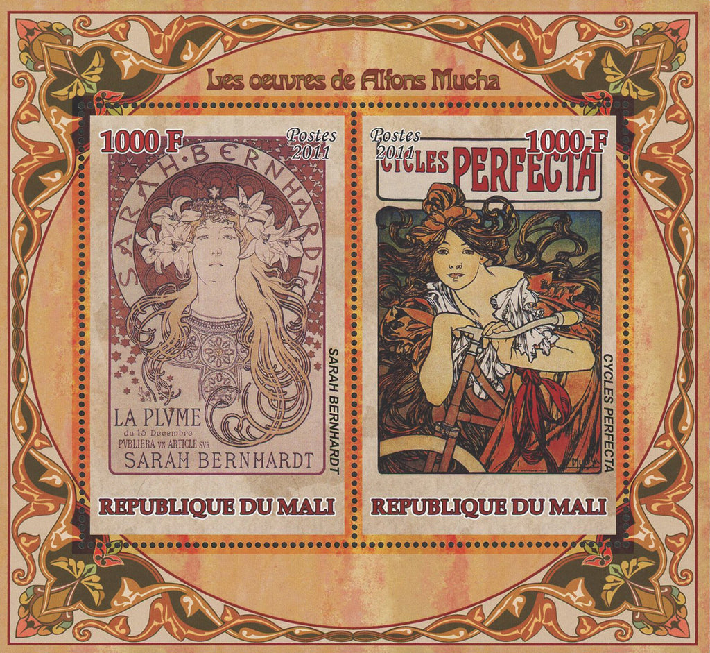 Alphonse Mucha Paintings Art Sov. Sheet of 2 Stamps MNH