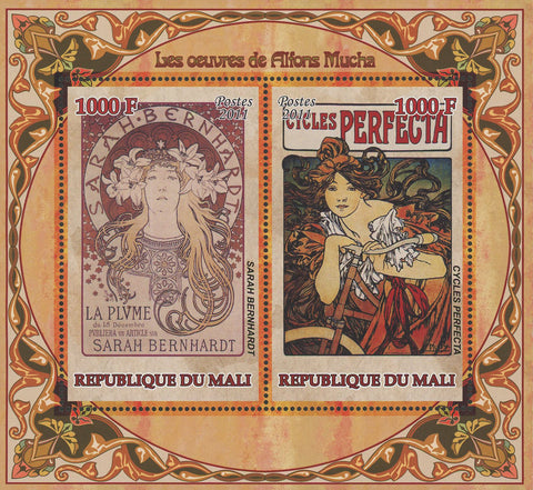 Alphonse Mucha Paintings Art Painter Sov. Sheet of 2 Stamps MNH