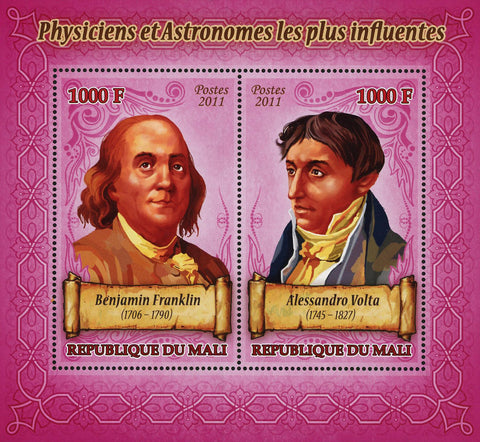 Physics Astronomy Benjamin Franklin Sov. Sheet of 2 Stamps MNH