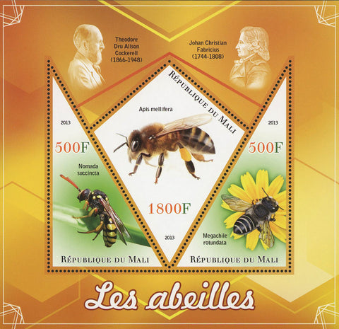 Bee Apis Mellifera Insect Flower Sov. Sheet of 3 Stamps Mint NH