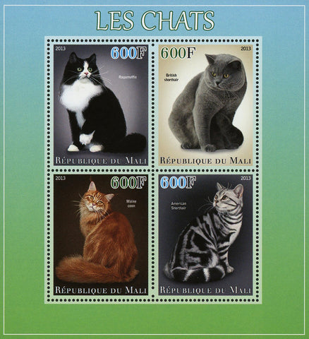 Mali Cat Pet Ragamuffin Maine Coon Sov. Sheet of 4 Stamps Mint NH