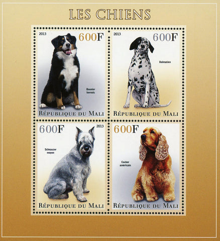 Dog Pet Husky Siberian Domestic Animal Sov. Sheet of 4 Stamps Mint NH