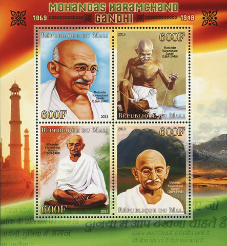 Mali Mohandas Karamchand Gandhi Historical Figure Sov. Sheet of 4 Stamps Mint NH