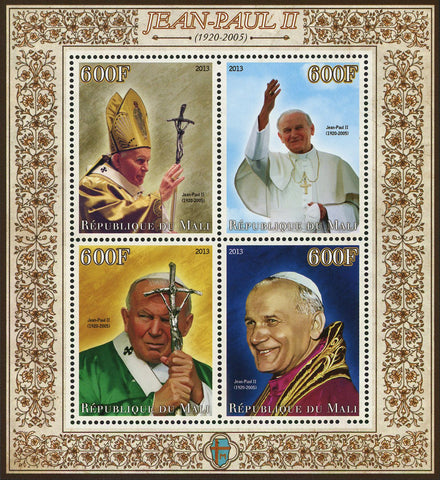 John Paul II Pope Historical Figure Sov. Sheet of 4 Stamps Mint NH