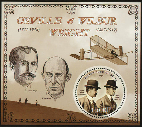 Mali Orville and Wilbur Wright Airplane Flight Sov. Sheet Mint NH