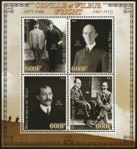 Mali Orville and Wilbur Wright Airplane Flight Sov. Sheet of 4 Stamps Mint NH