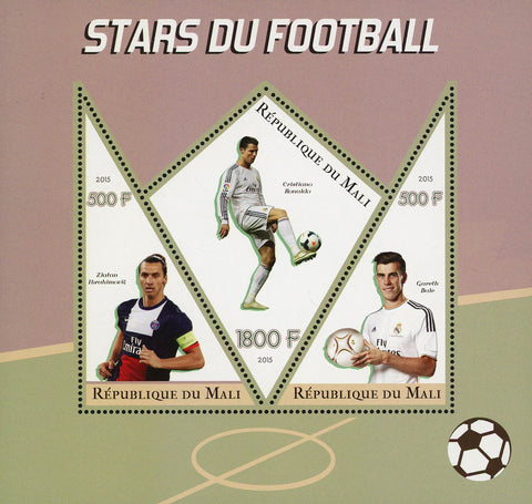 Soccer Star Cristiano Ronaldo Sport Souvenir Sheet of 3 Stamps Mint NH